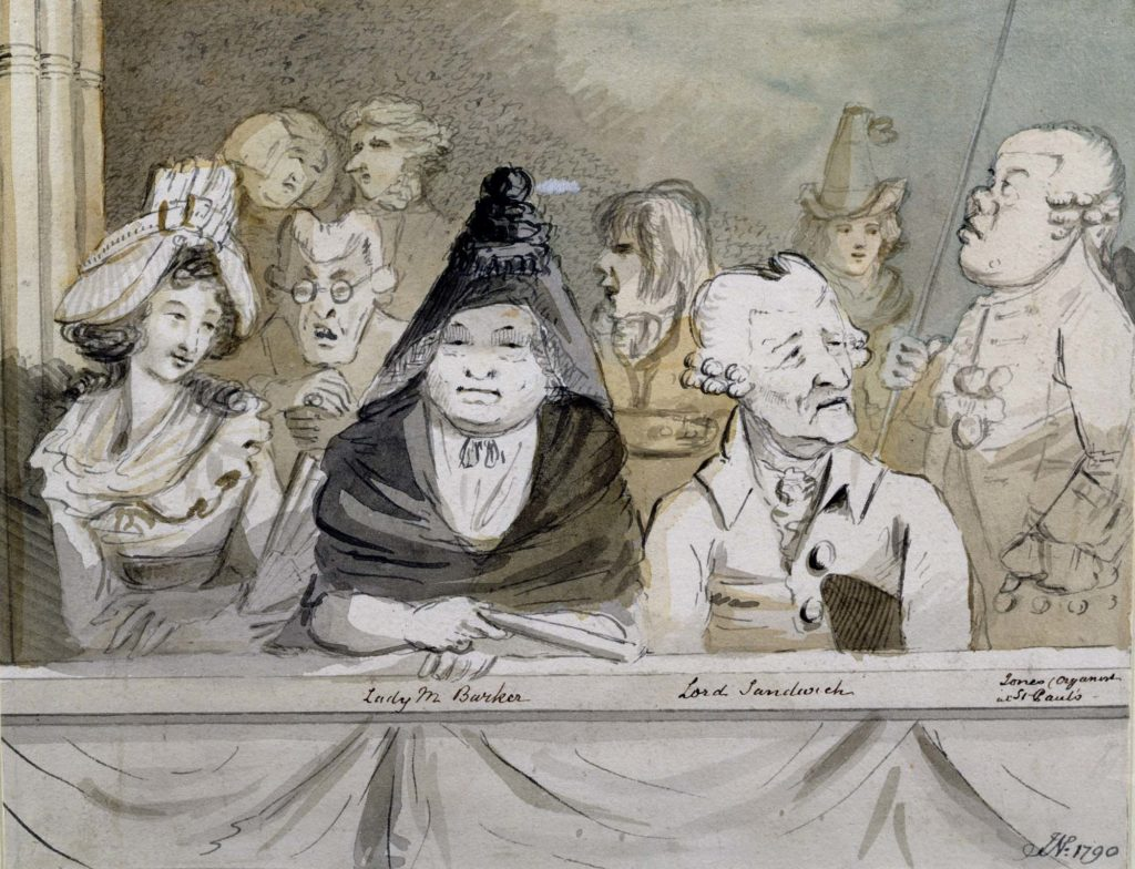 a caricature watercolour of Georgian audience members in a box at the theatre