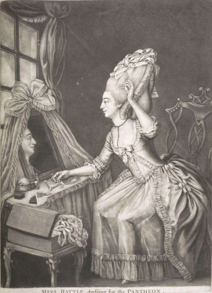a print of a woman with large beehive wig at her table with a mirror