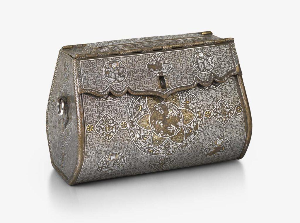 a photo of a metalwork engraved handbag