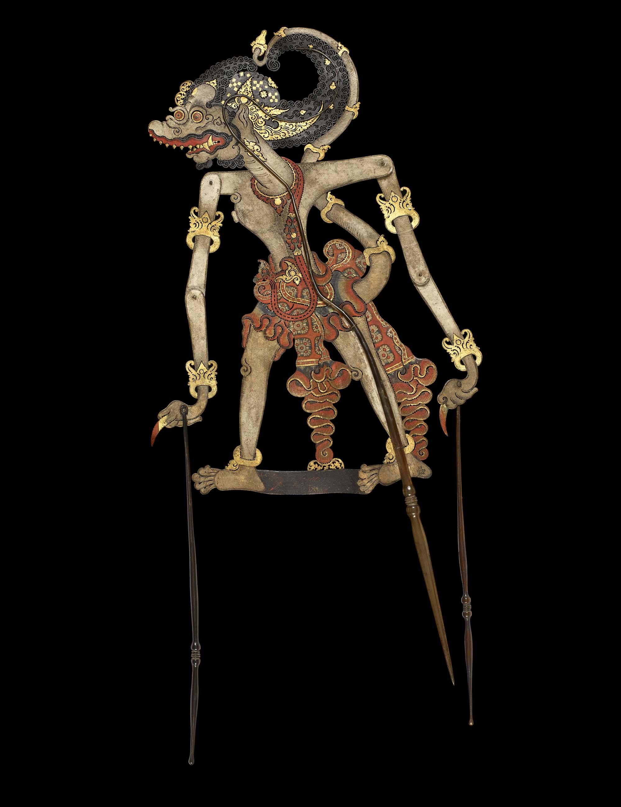 a flat shadow puppet on sticks