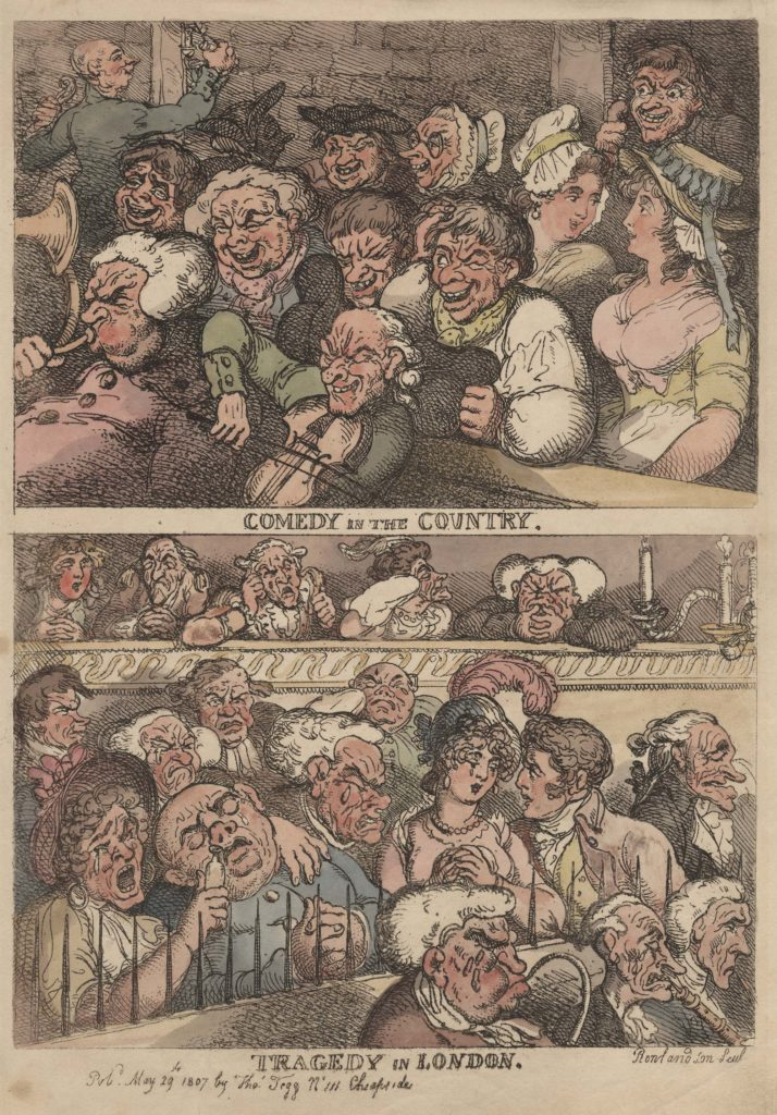 caricature showing tow contrasting theatre crowds