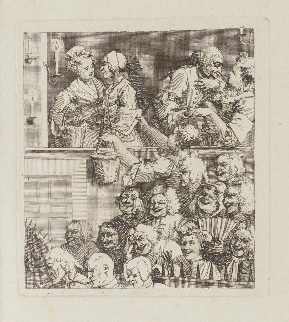 black and white print showing a busy audience scene
