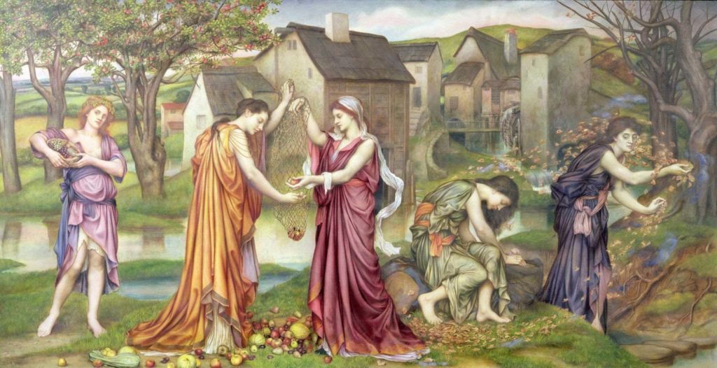 a wide painted panel showing women in robes collecting leaves and fruit in a meadow next a stream and mill buildings