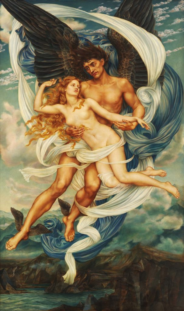 a painting of a winged male lifting a naked woman into the sky
