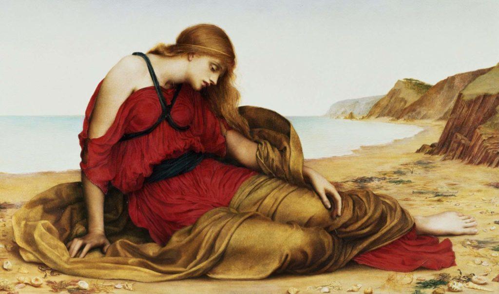 a painitng of a forlorn woman sat on a beach