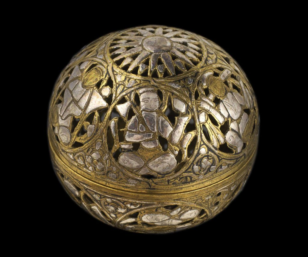 Incense burner of pierced and engraved brass inlaid with silver, with images of the planets within roundels