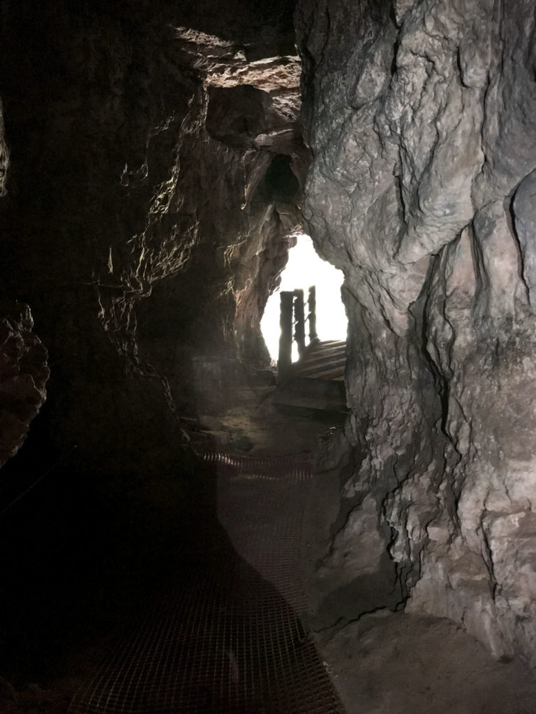 a photo of a cave entrance seen from the interior