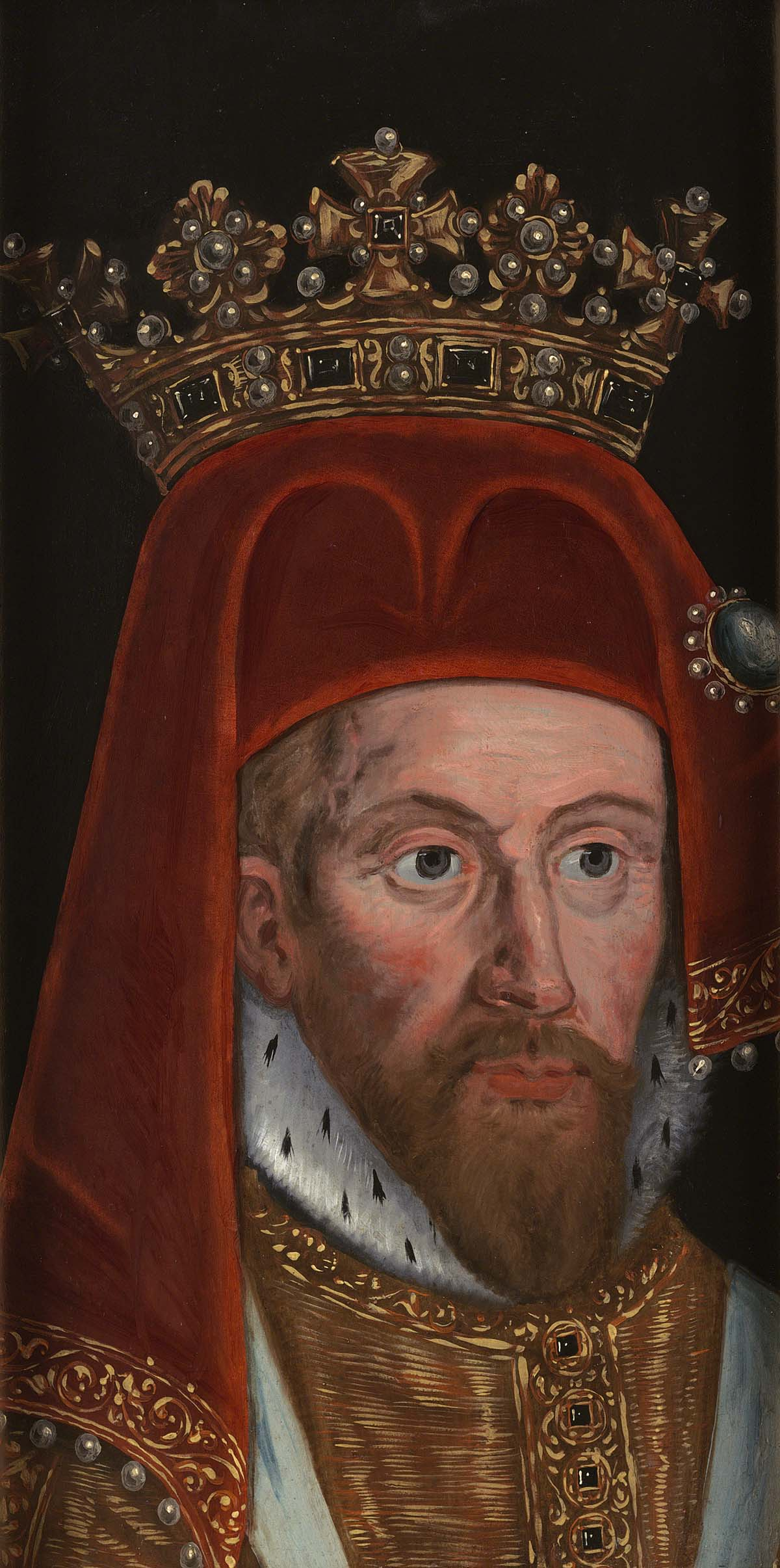 a late medieval portrait of King Henry IV with crown sitting on top of a red velvet cap with long earflaps