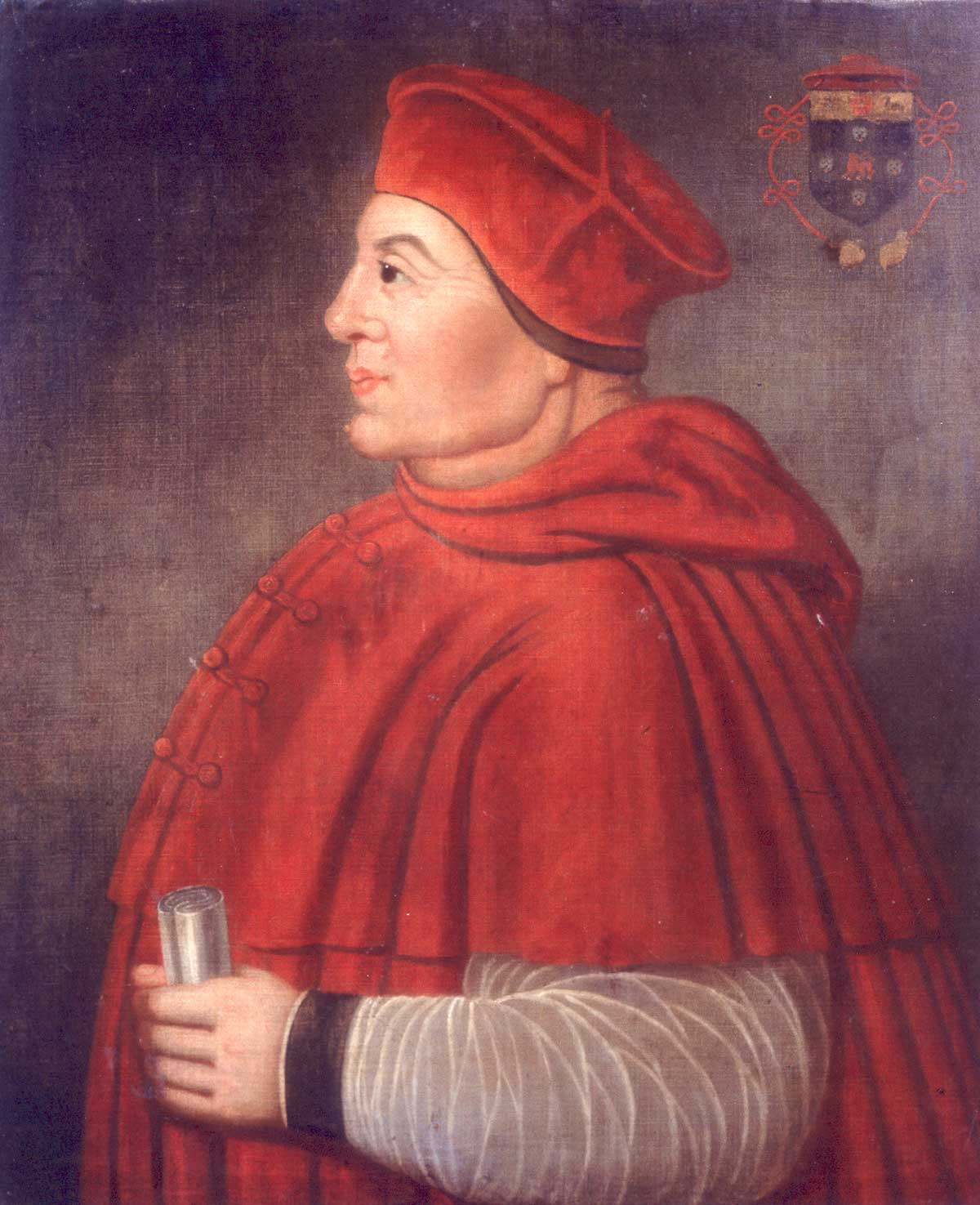 a portrait of Cardinal Wolsey in red robes and red skull cap