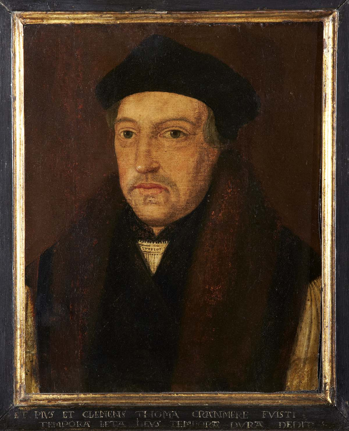 a Tudor portrait of Thomas Cranmer in dark robes and black hat