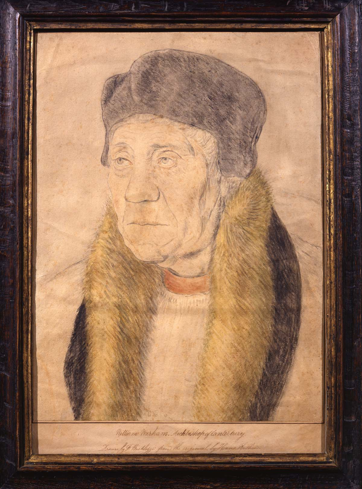 a pencil ad watercolour portrait of William Hever with fur hat and fur collar