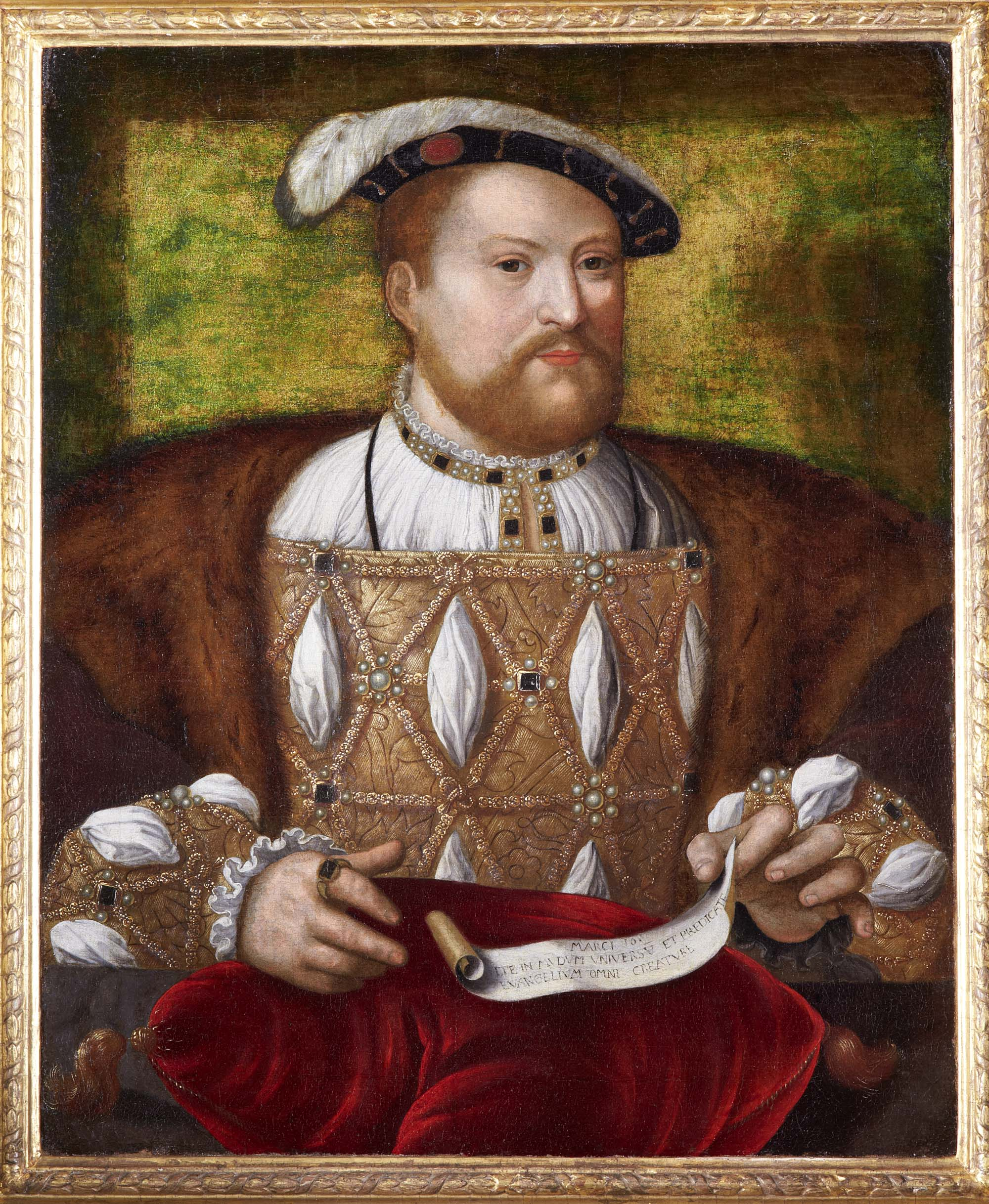 a portrait of a Henry VII in customary robes and black felt hat with feather