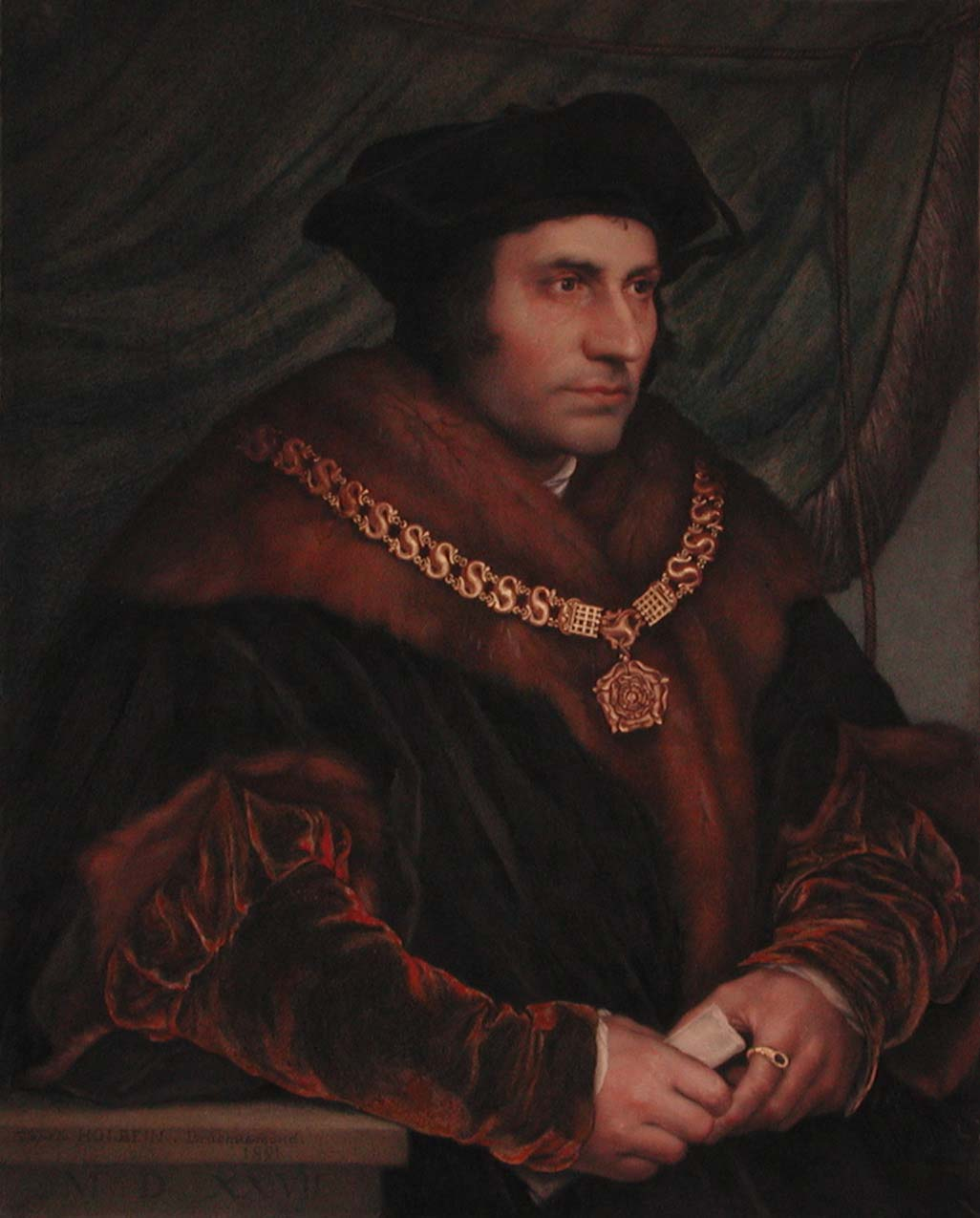 an oil portrait of Thomas More in fur robes, gold chain with Tudor rose pendant and black hat