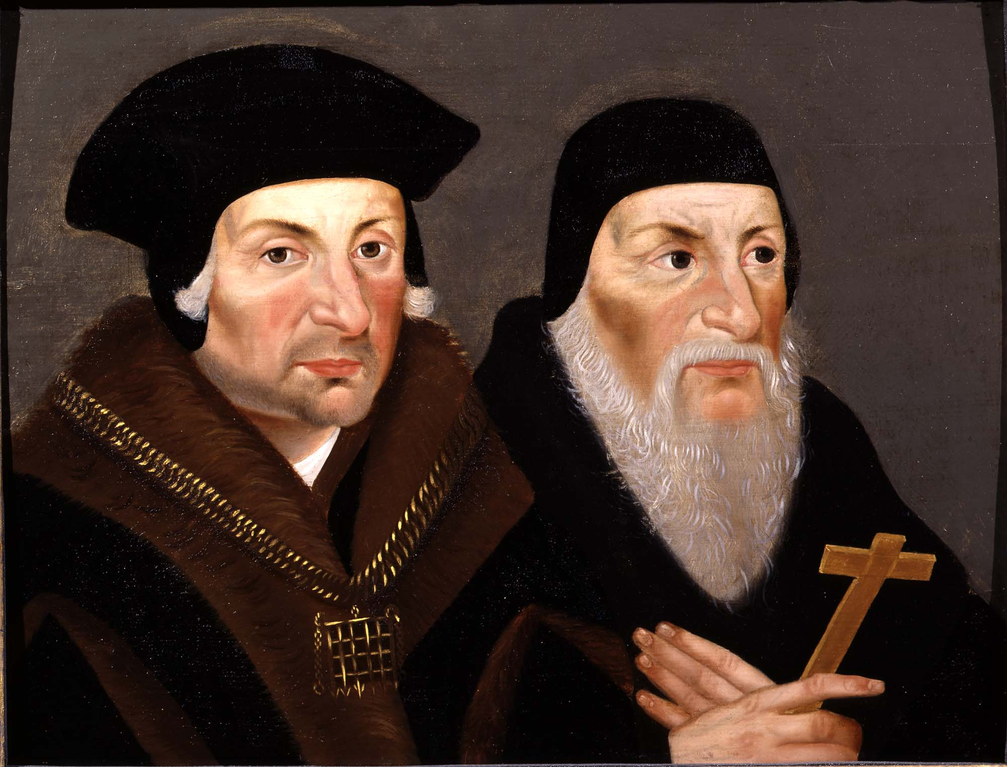 a double portrait of Thomas More in his fiurc oat and black hat with Archbishop Fisher in his skull cap and long grey beard holding a crucifix