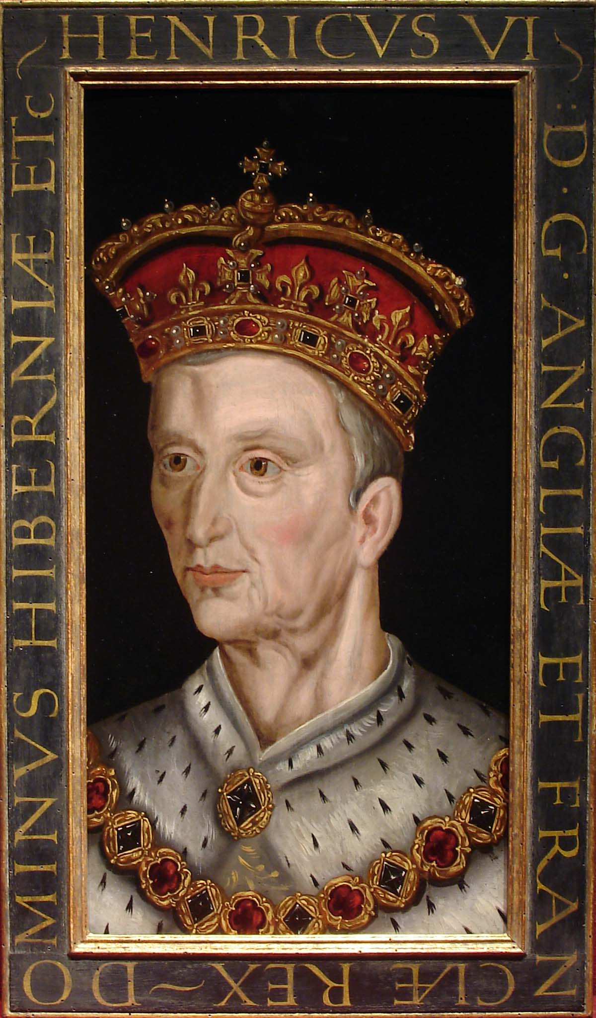 a portrait of King Henry VI with crown and ermine collar and gold chain