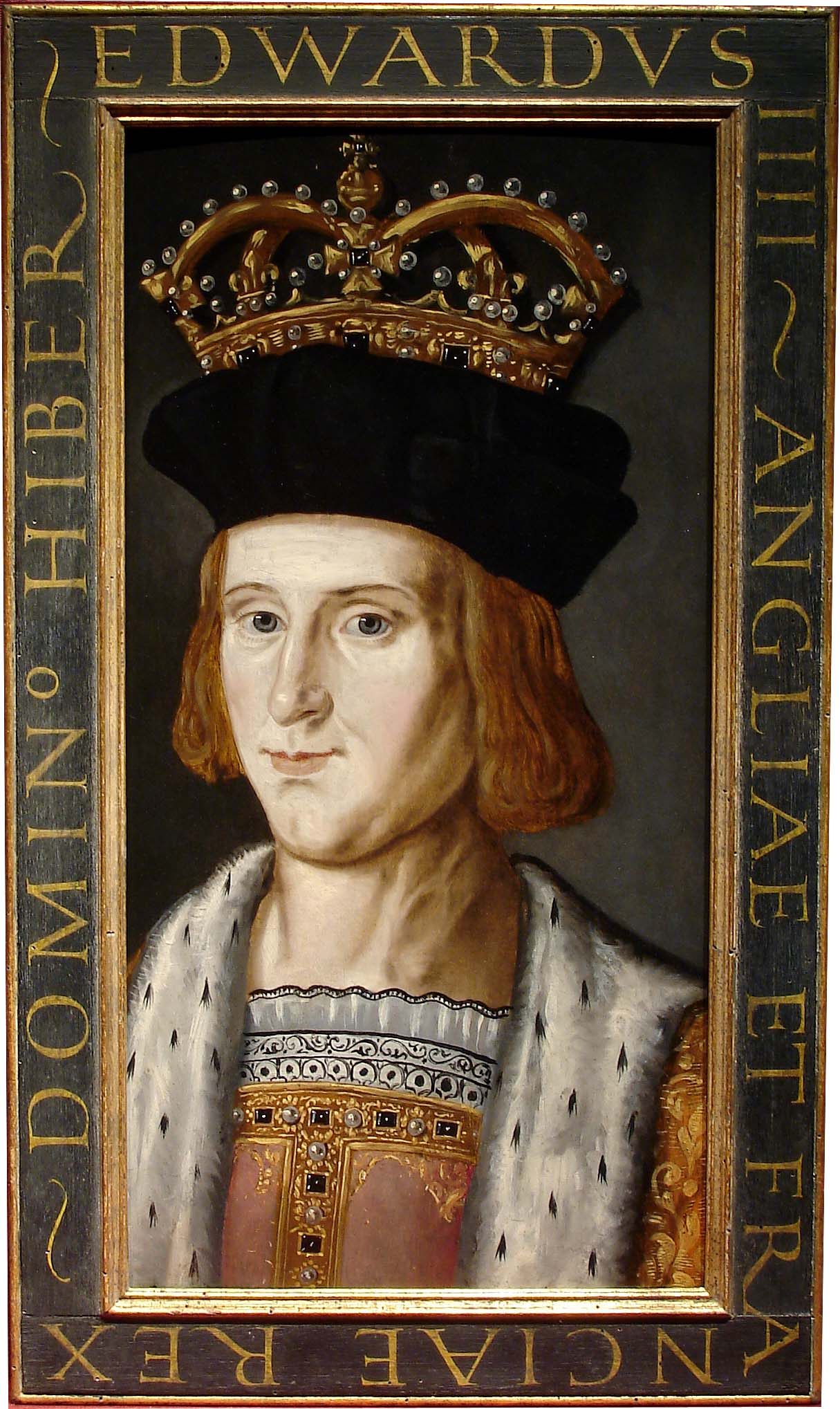 a painted portrait of King Edward IV with crown sitting atop a black felt Tudor hat