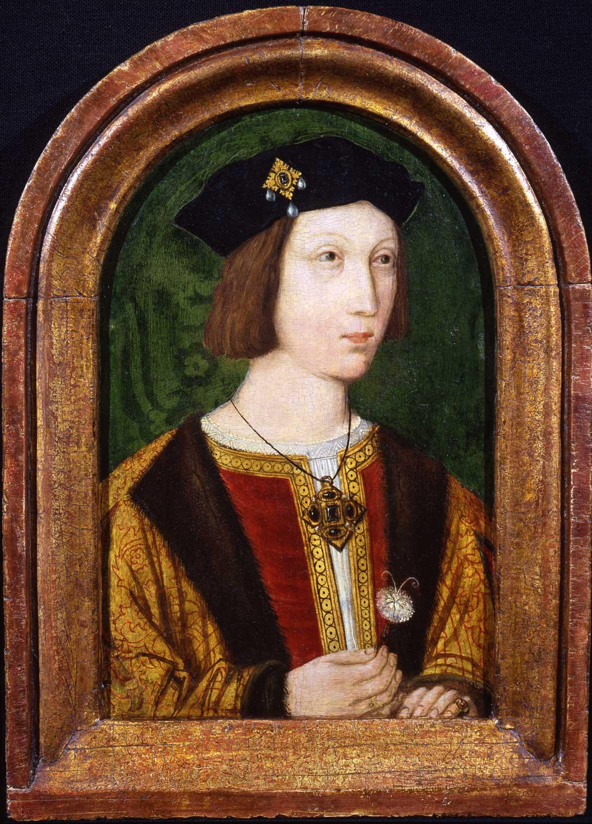 a portrait of a young Tudor man with a felt hat and brocaded coat