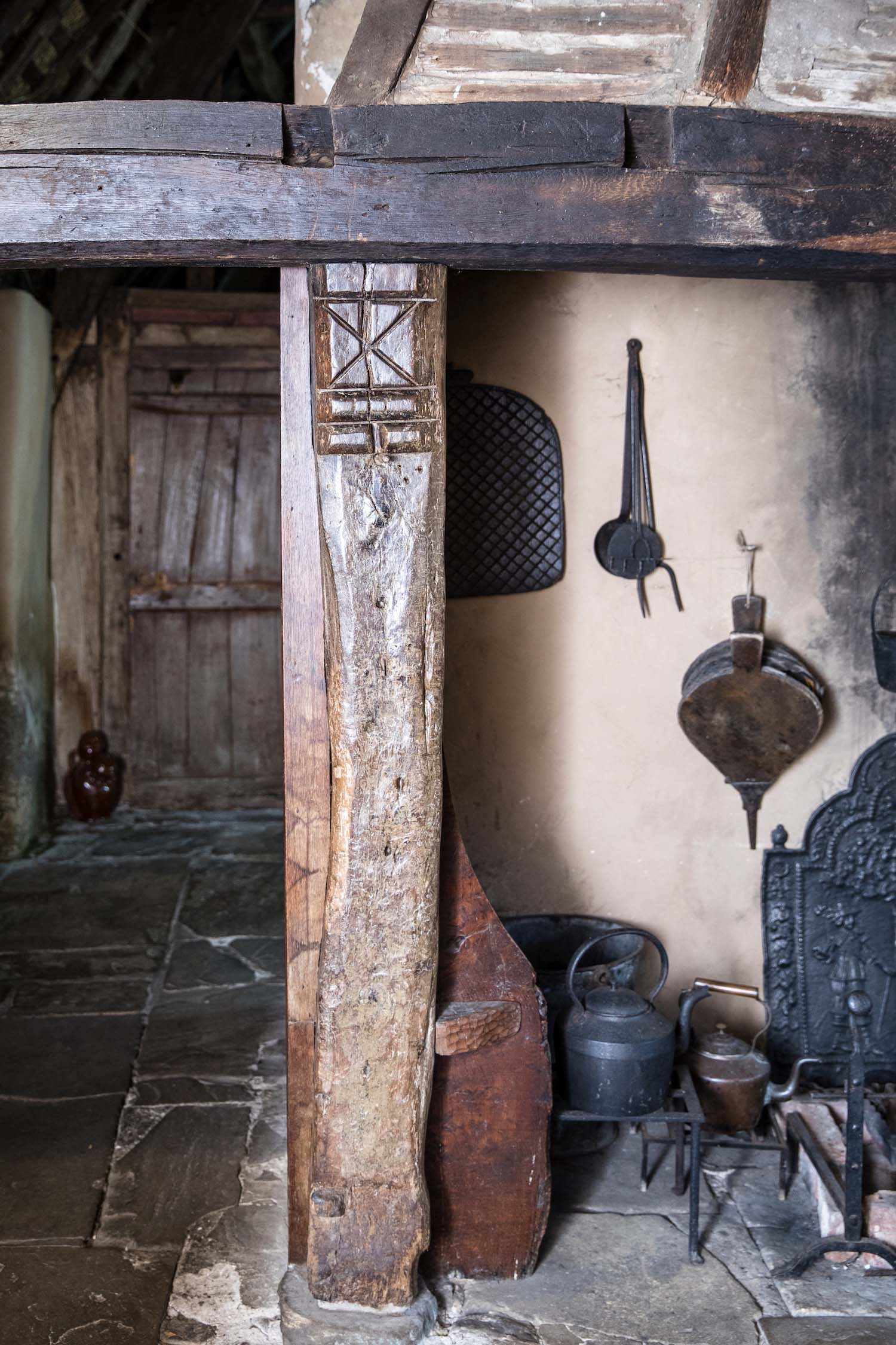 a photo of a fireplace hearth in a cottage