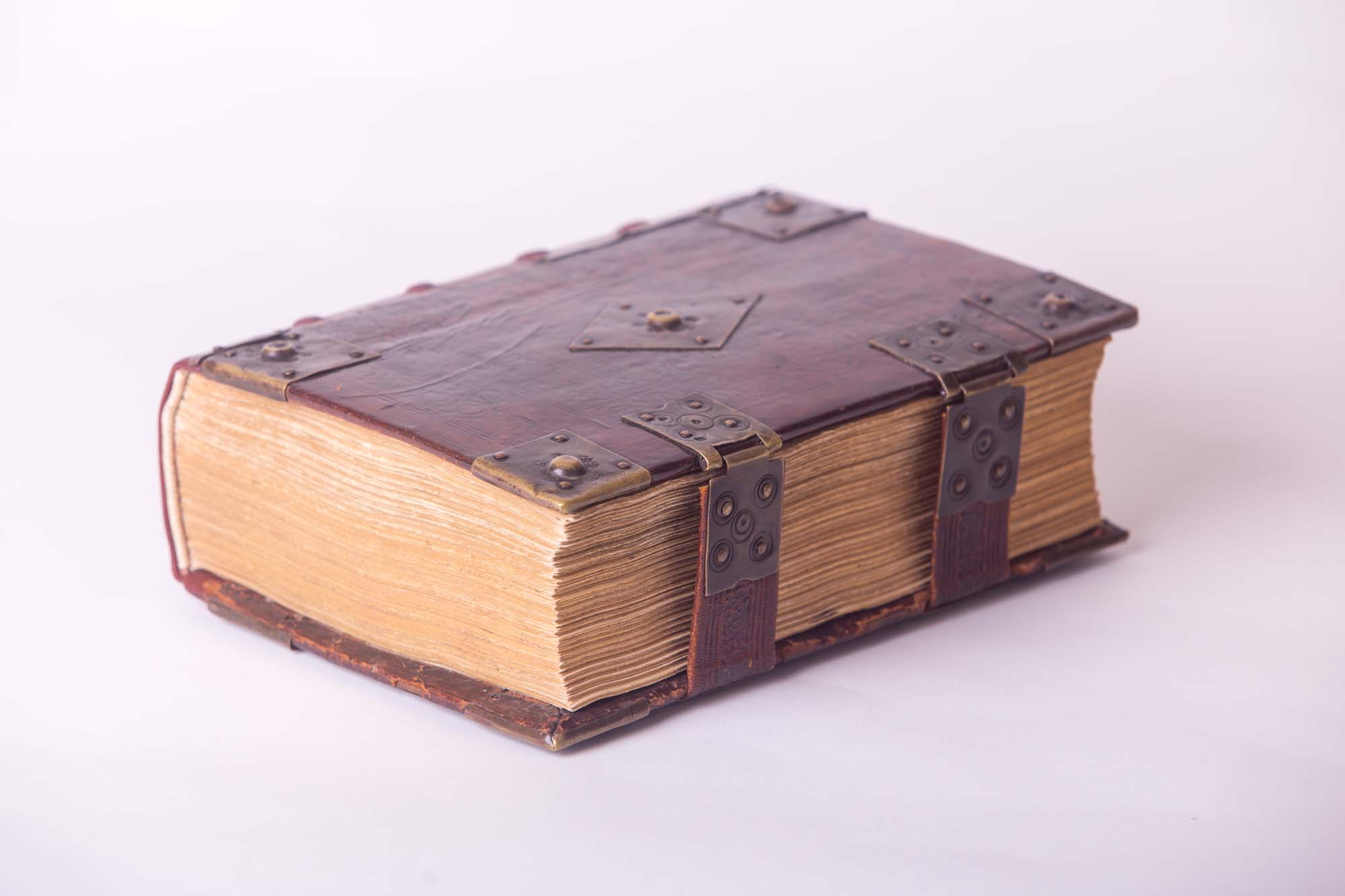 a photo of a leather bond book with hinges and locks