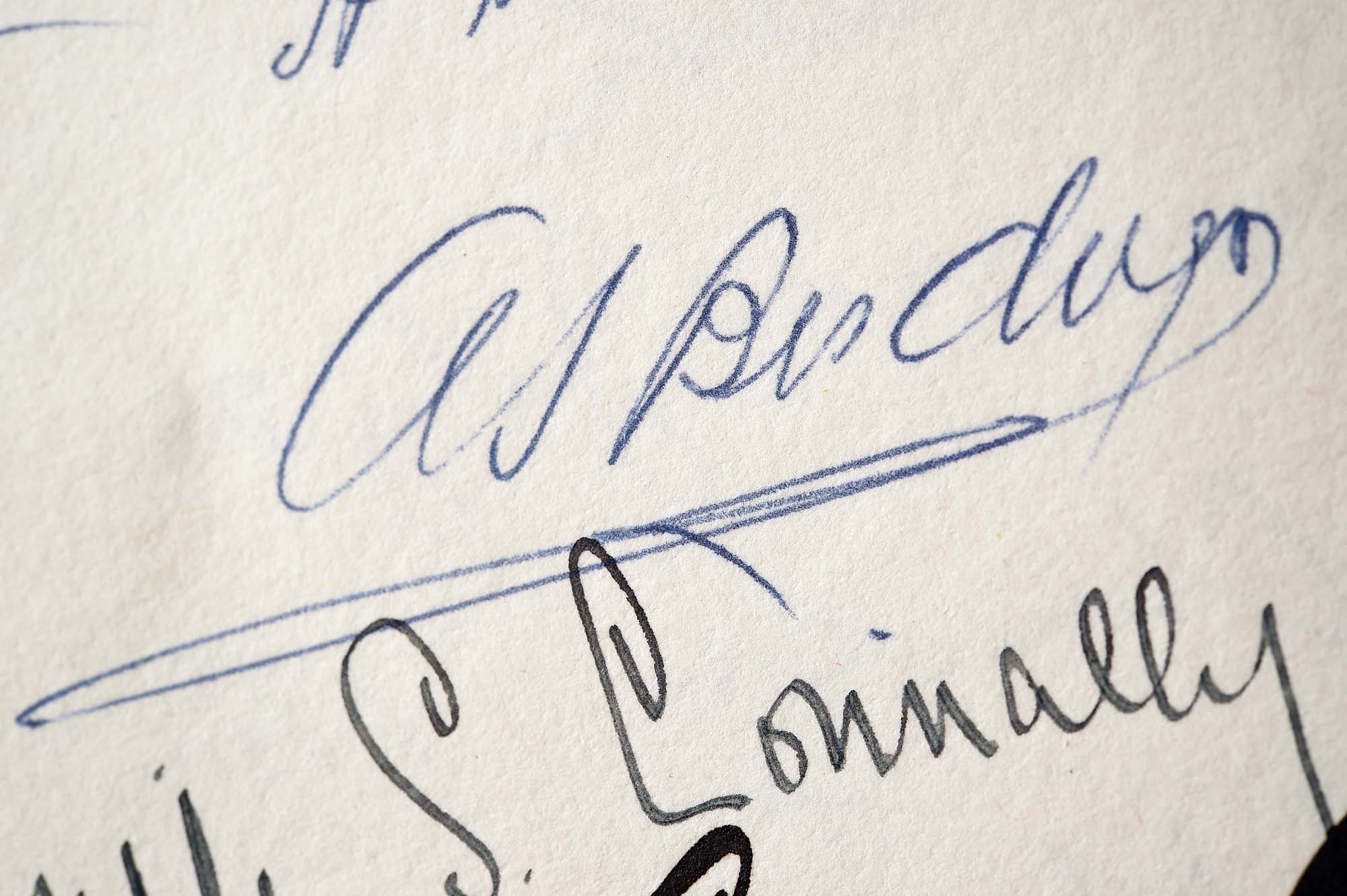 a photo of a page full of signatures