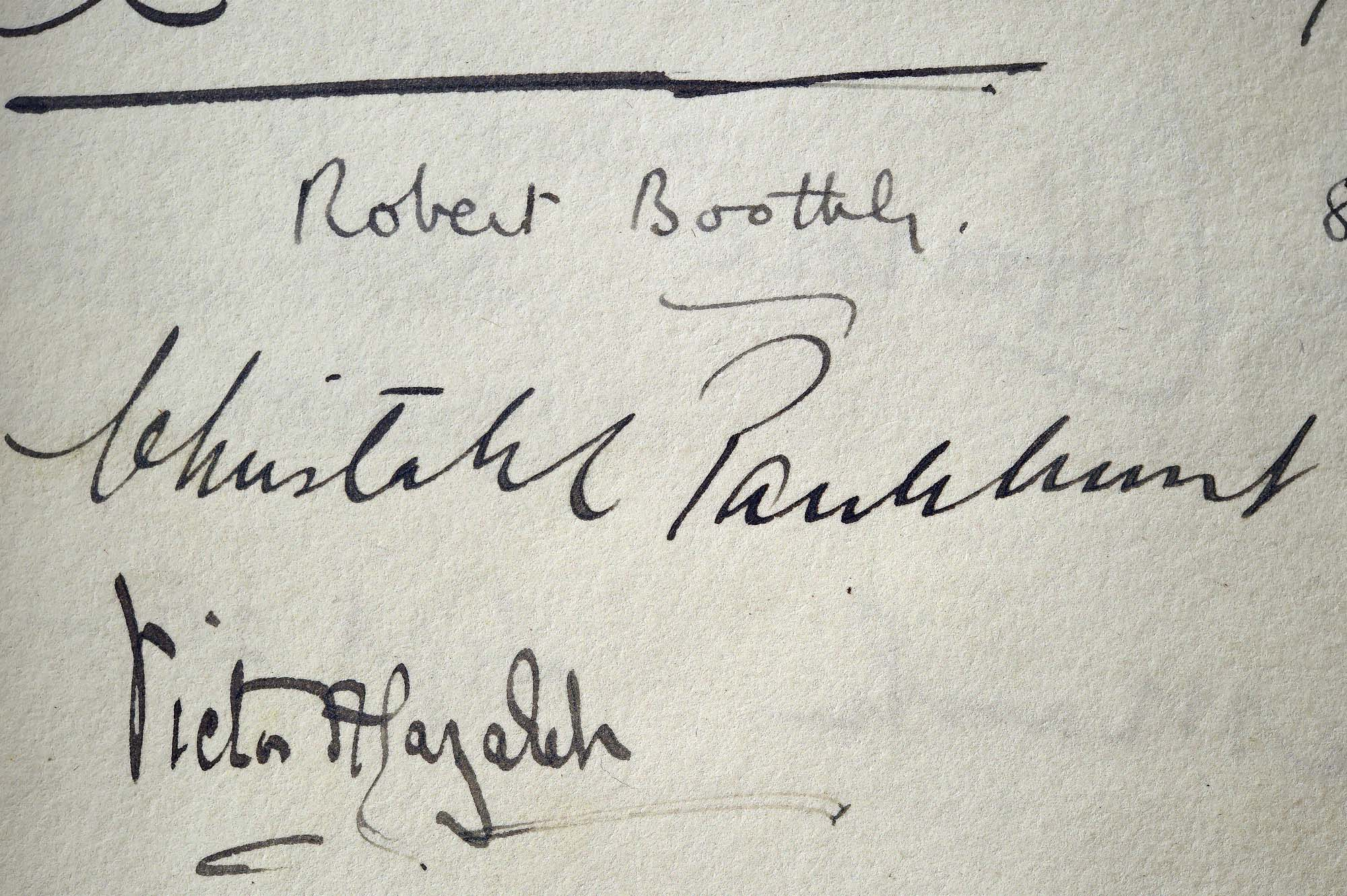a photo of signatures in a book