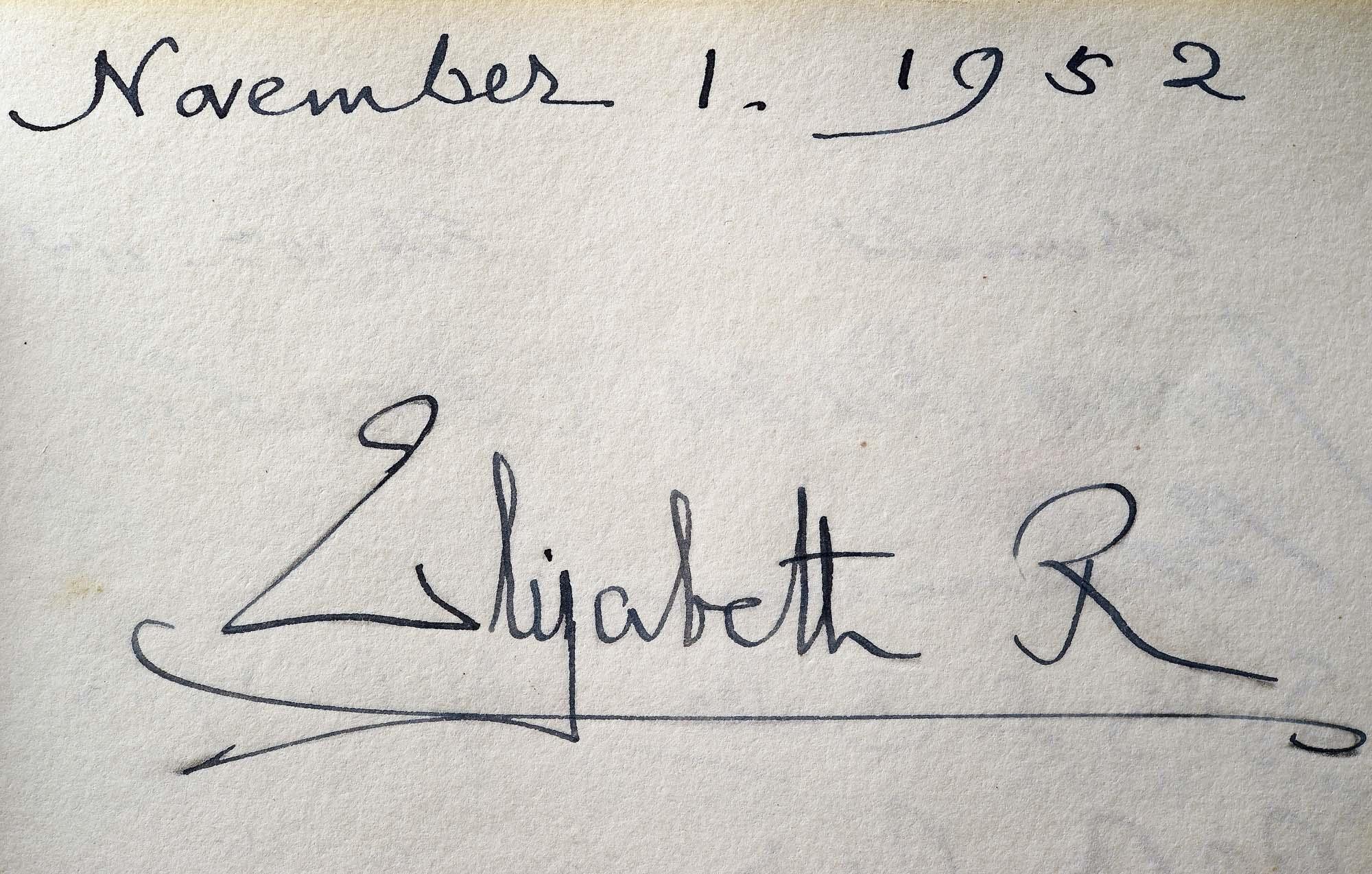 a photo of the signature Elizabeth R