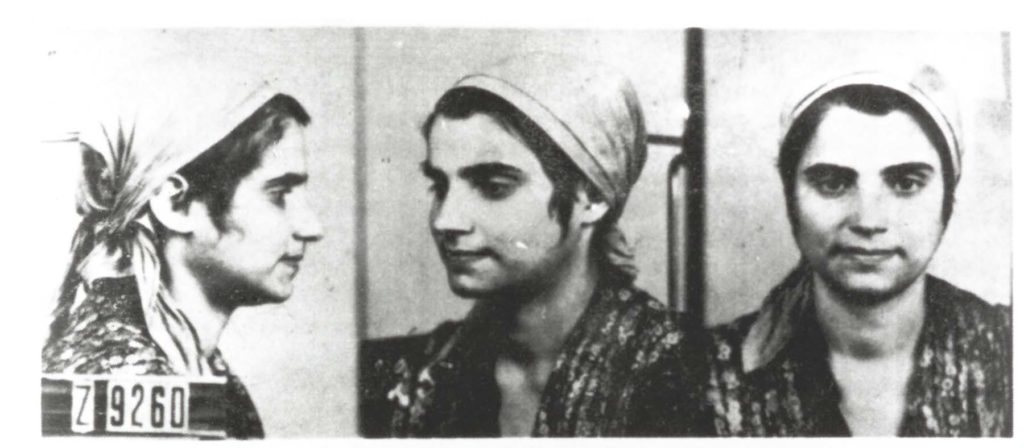 a triptych concentration camp identification photograph of a young woman with a gypsy headscarf