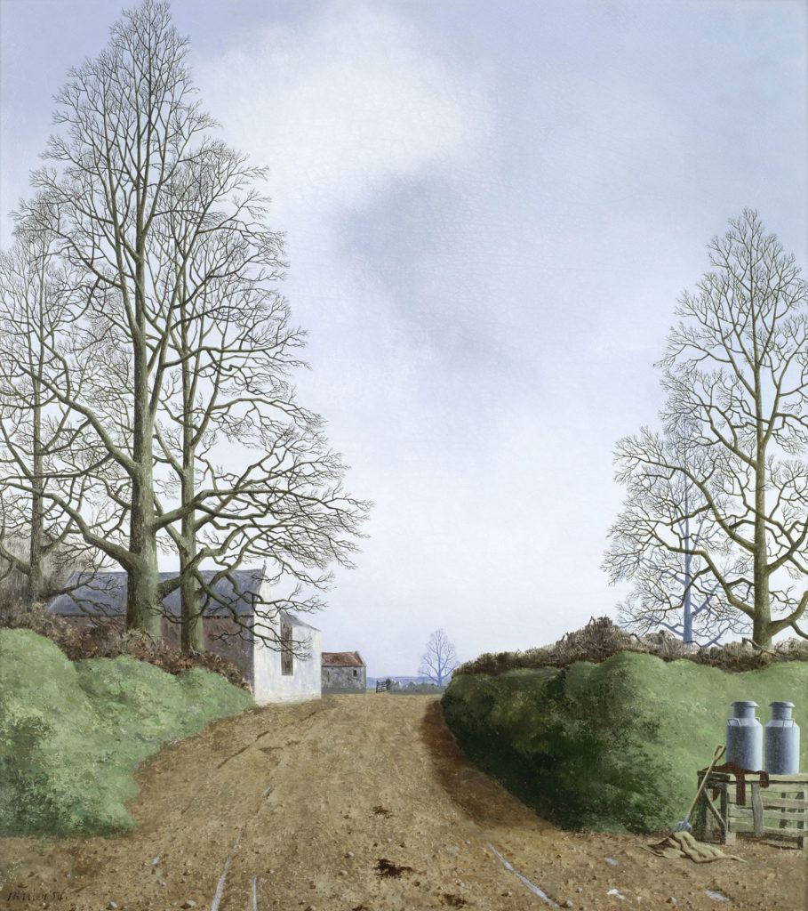 A rural Somerset scene with bare trees and milk churns
