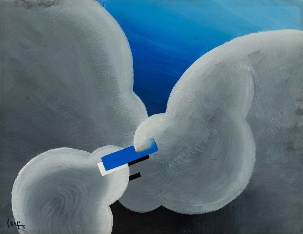 an abstract painting in bold blue and grey of plane moving through two large clouds
