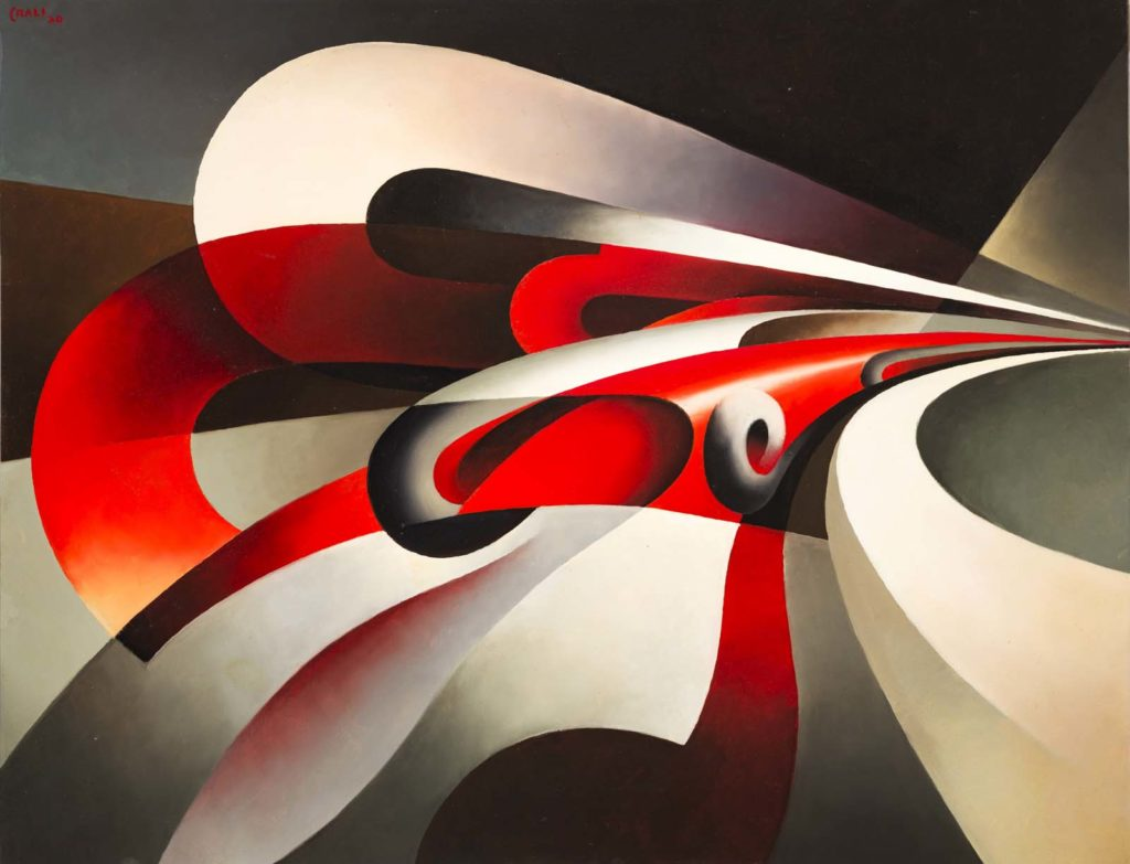 a painting of red and cream swirls capturing the centrifugal force of an aeroplane turning