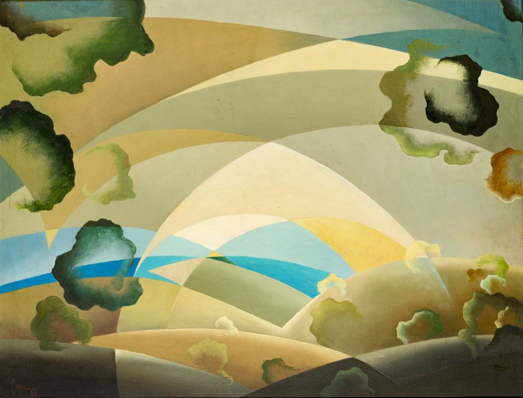 an abstract modernist painting showing the light and colours of the sky with a plane travelling across it