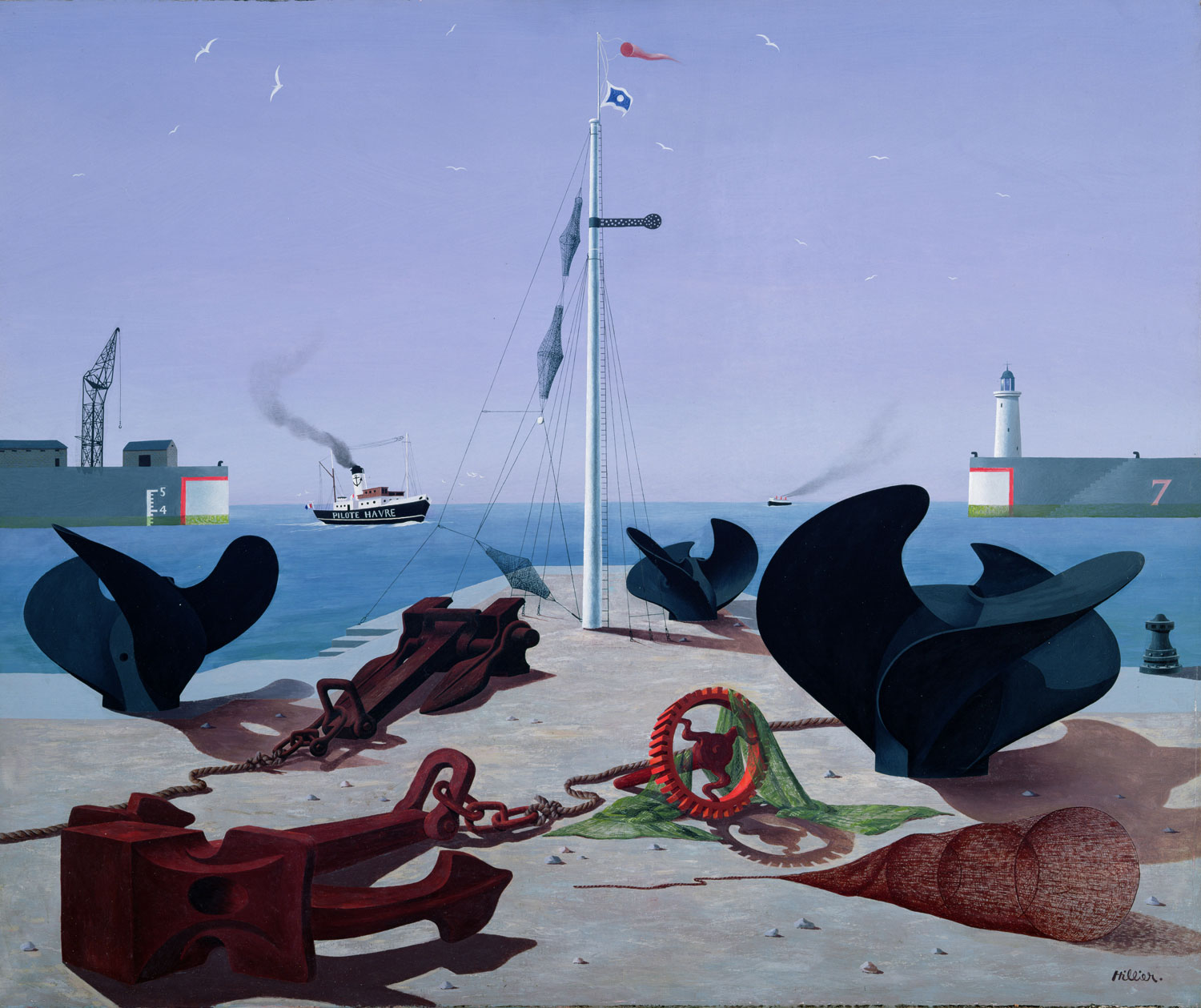 a harbour scene with propellers and anchors in foreground