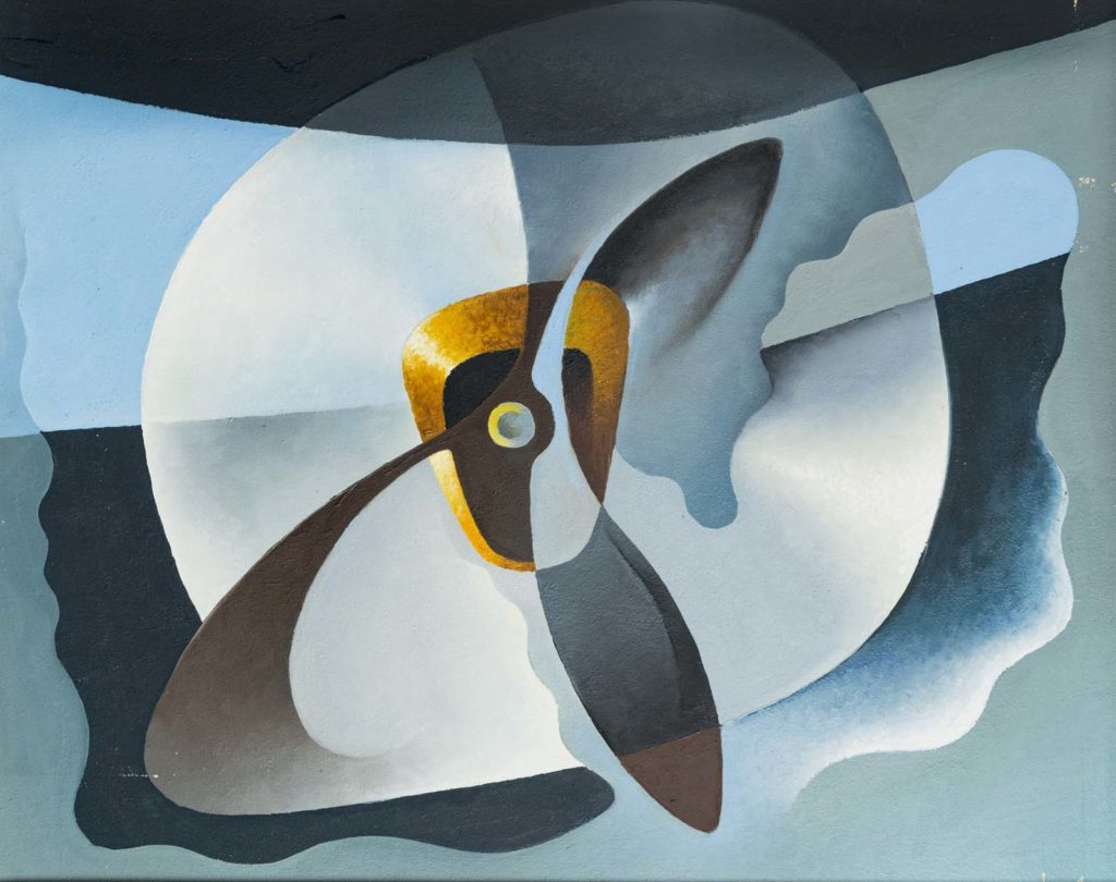 an abstract painting showing the motion of an aeroplane propeller