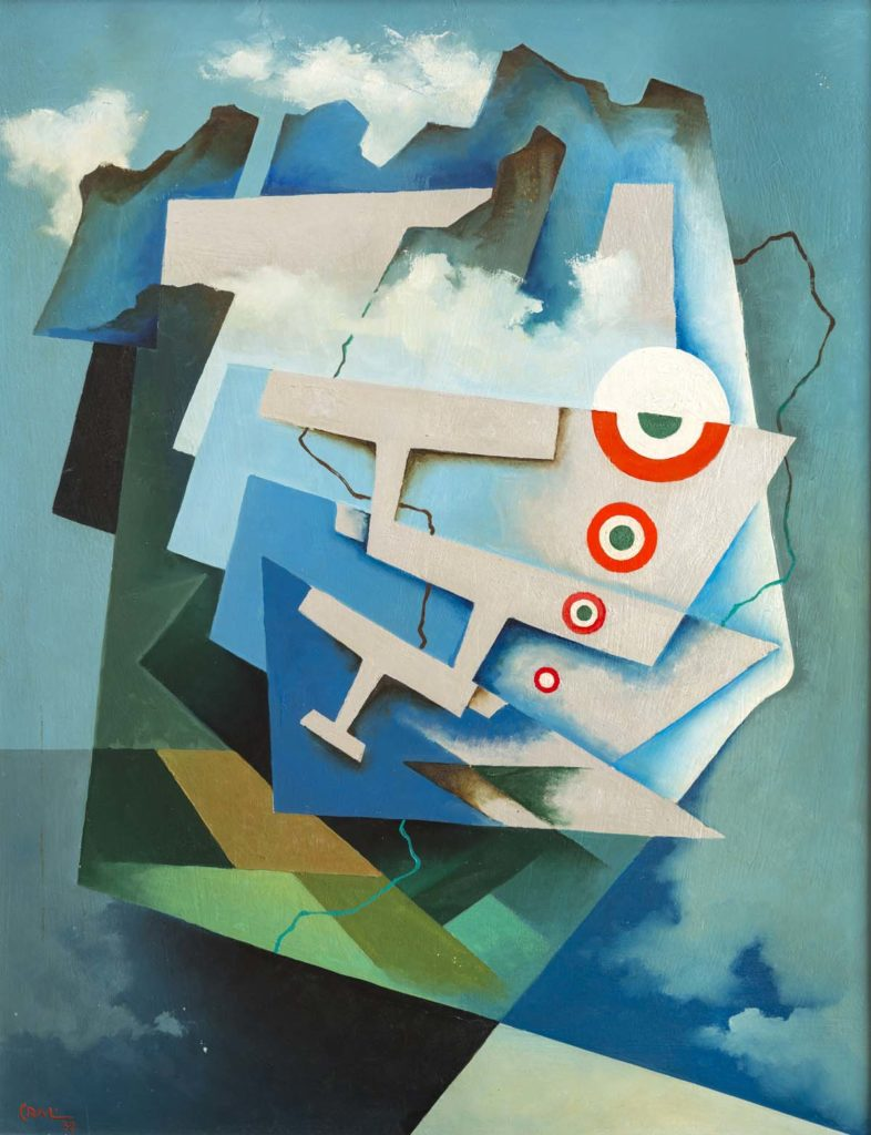 a painting showing aeroplanes seen from above through cubist shapes evoking clouds and the earth