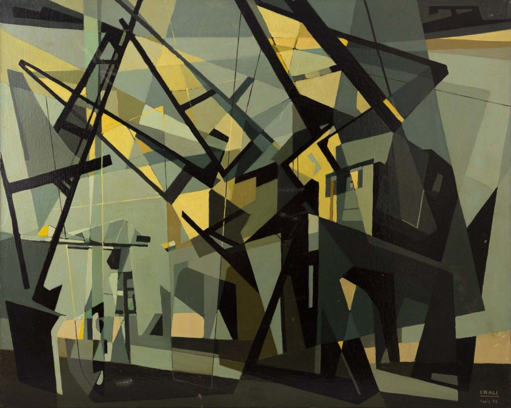 an abstract painting evoking a series of dockside cranes