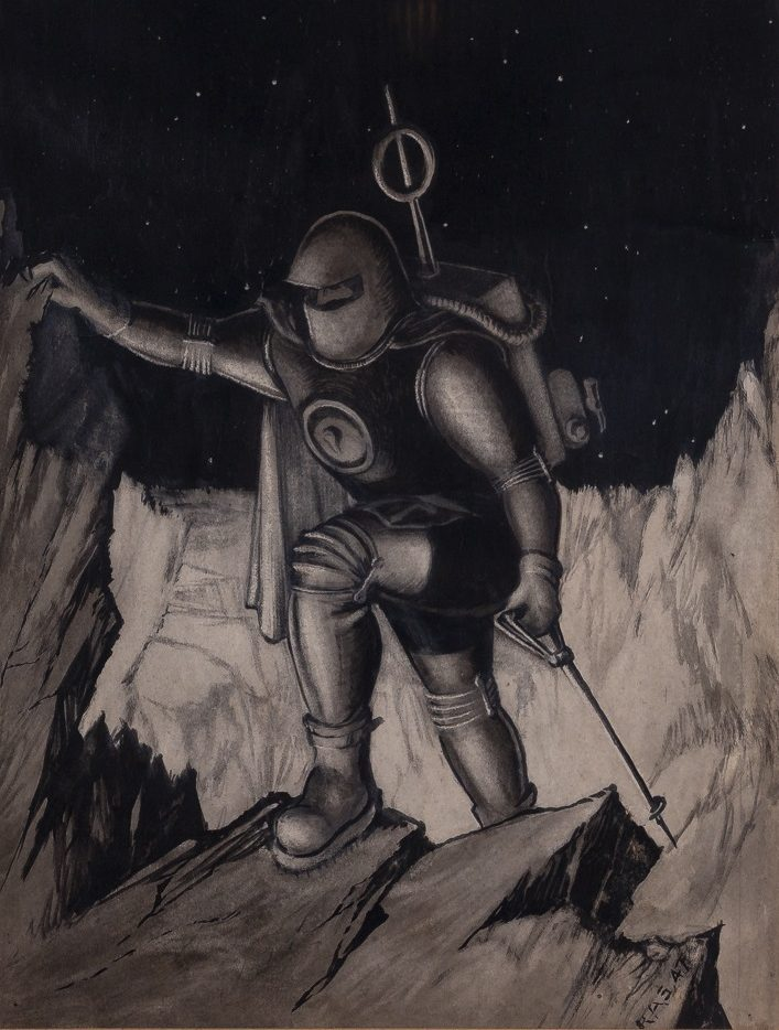 a drawing of a man in a space suit hiking across a planet