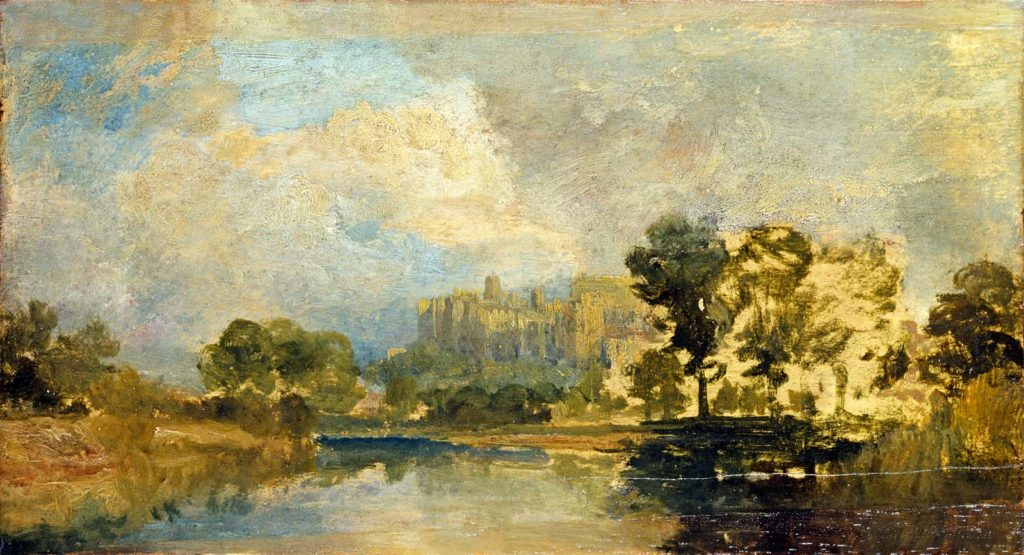 a painting of a scene looking across a river