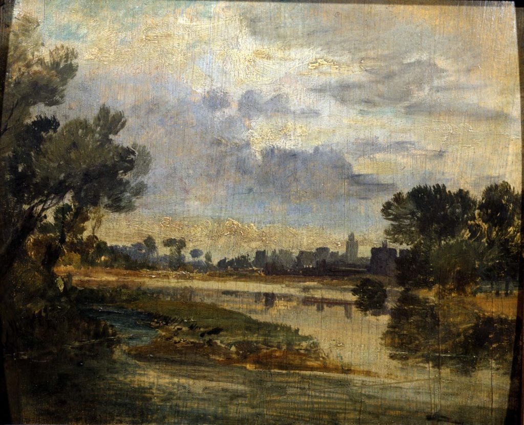 a painting of a river scene with trees in the foreground