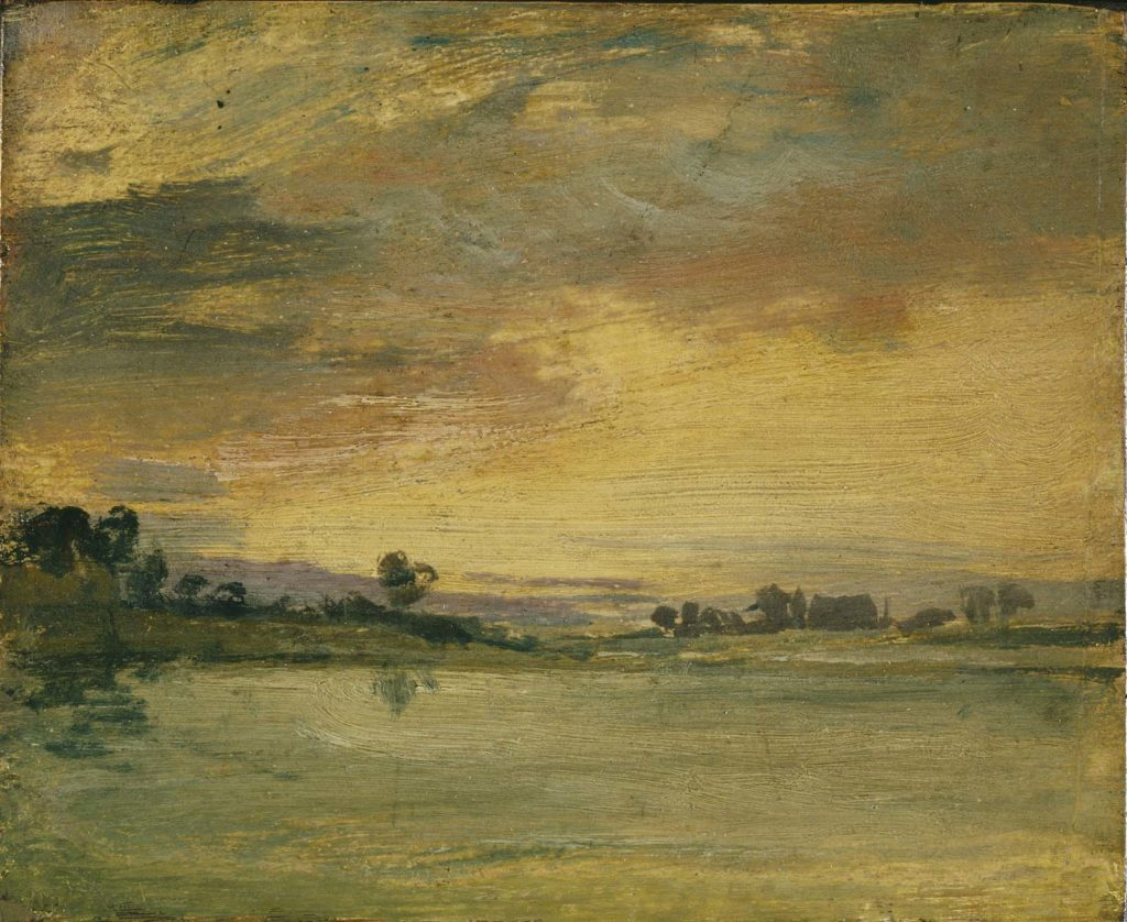 a painting across a river at sunset
