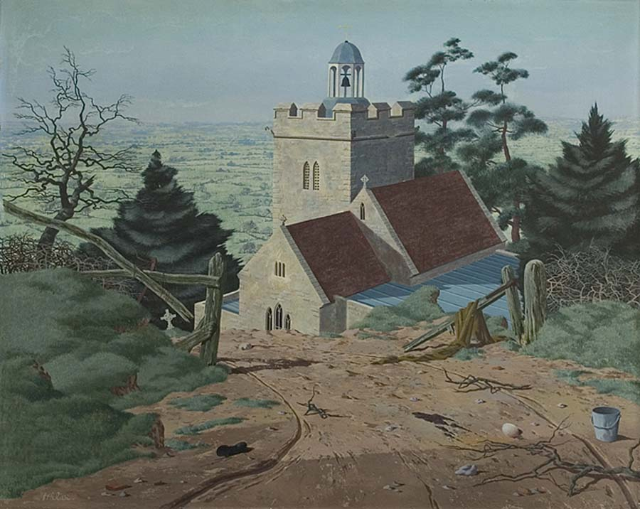 a painting of a church by a country lane with a flat landscape in the background