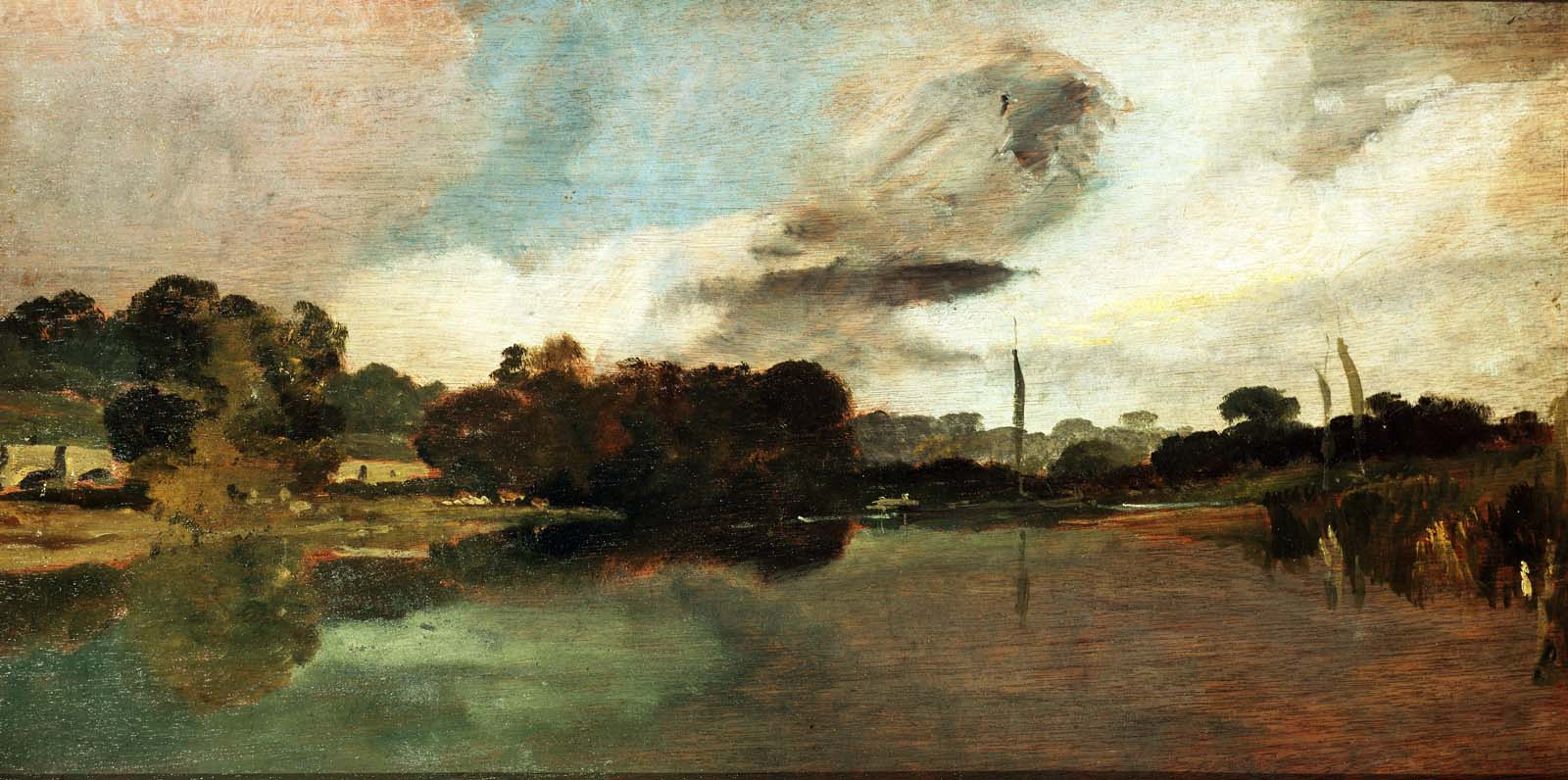 a panoramic painting of a river scene