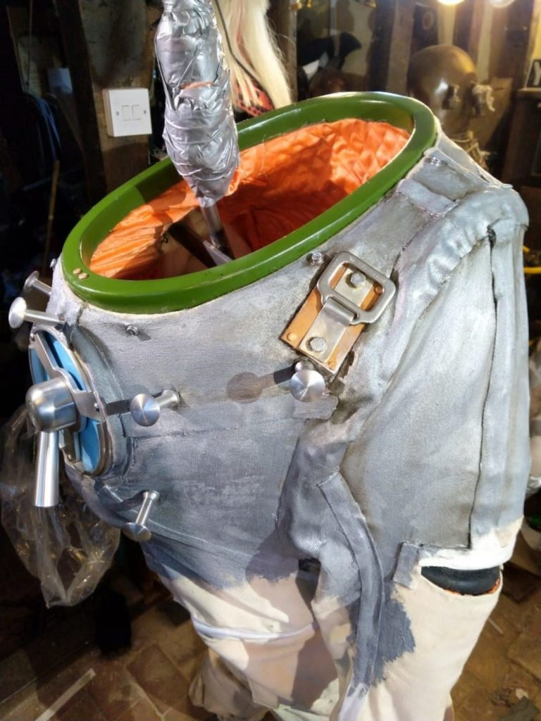 a photo of a silver spacesuit