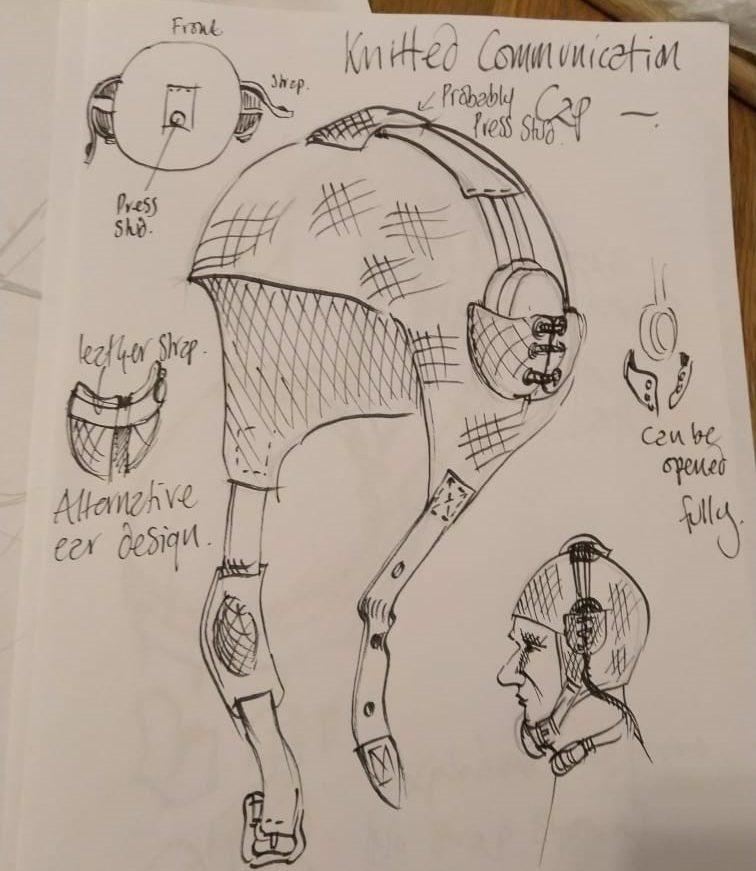 a pencil sketch of flying helmet