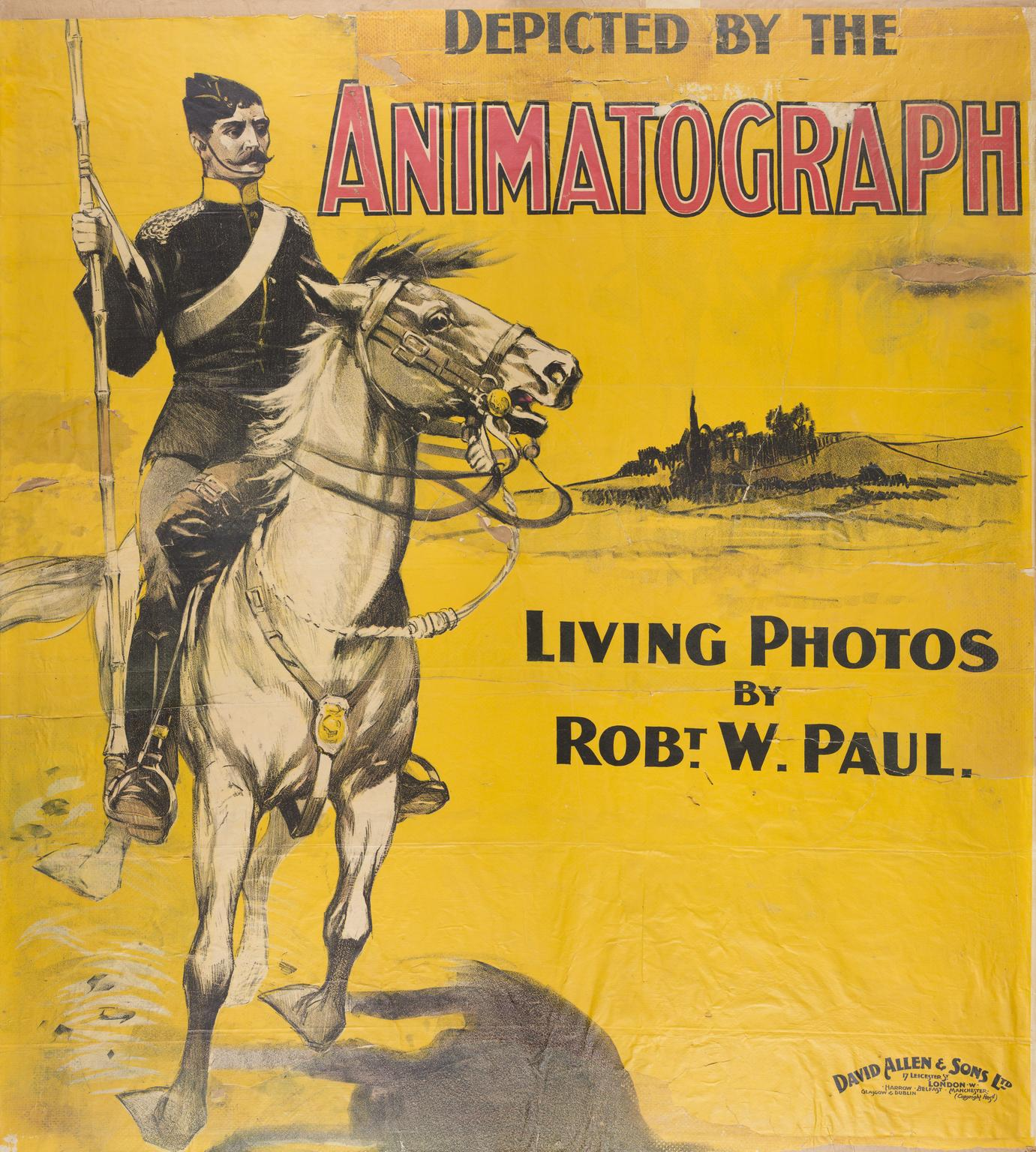 A poster for Robert Paul's animatograph. Showing soldier on a horse