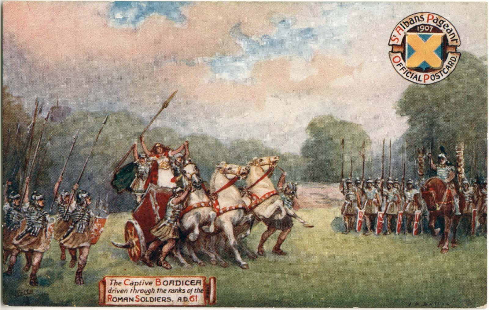 a colour postcard depicting Boadicea on her chariot surrounded by Roman legionnaires