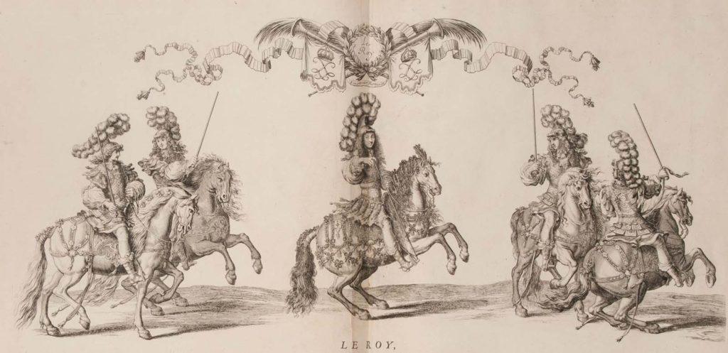 a print with several men on horseback