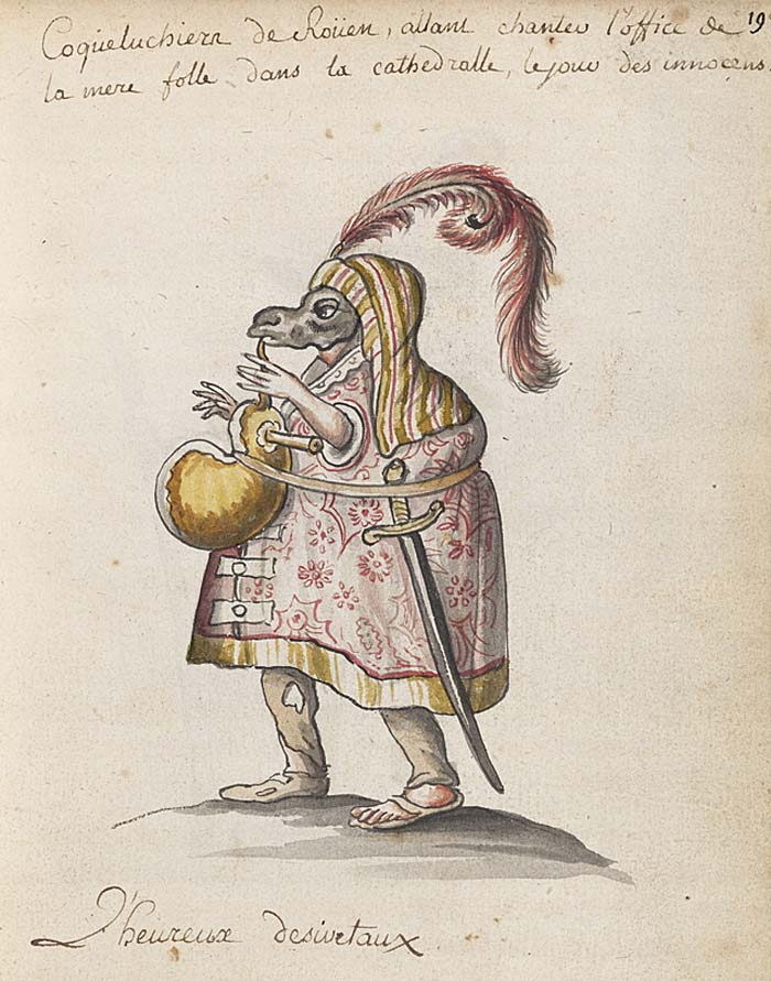 a drawing of a figure in a cloak and mask playing bagpipes
