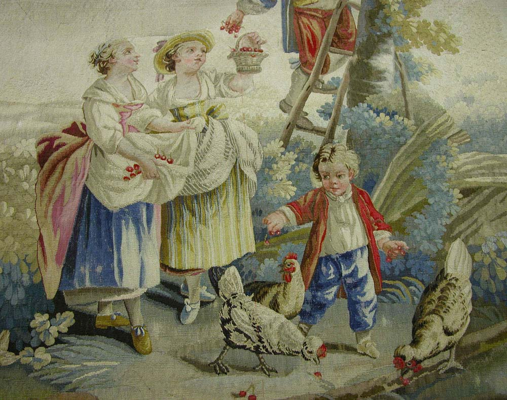 a tapestry showing a group of French peasants and a little boy with hens