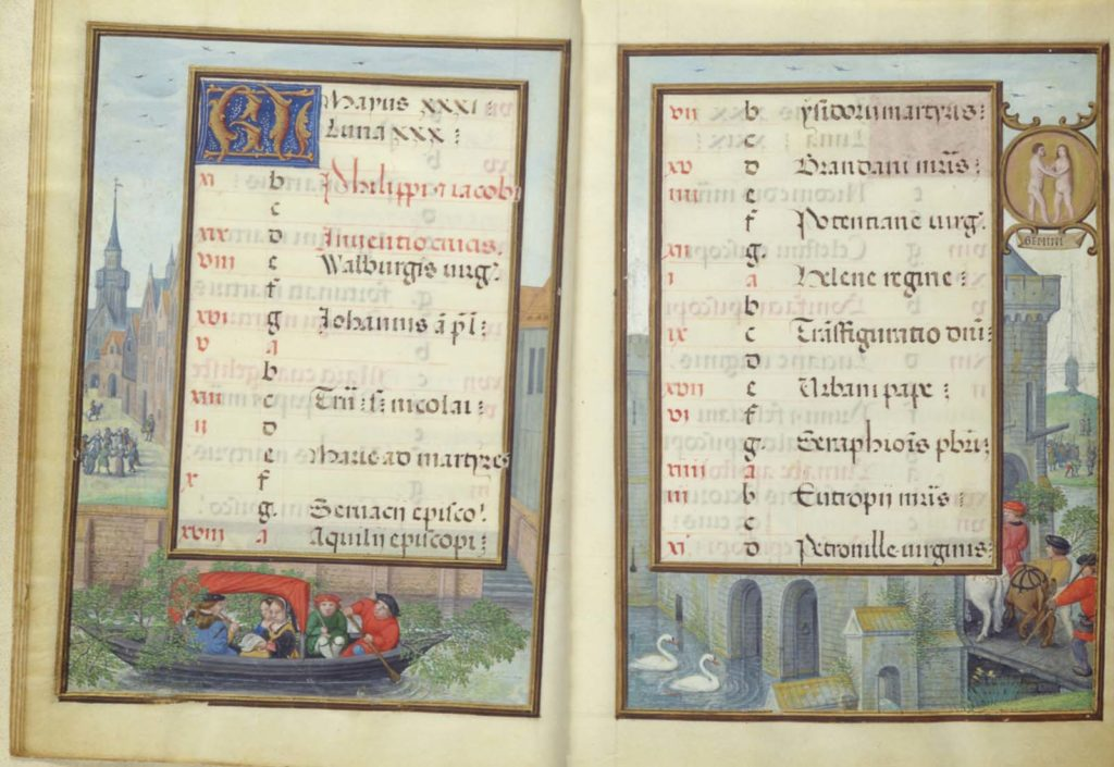 two open pages of an illuminated manuscript with panels in Latin and marginalia showunbg medieval catle and moat scenes with people and swans