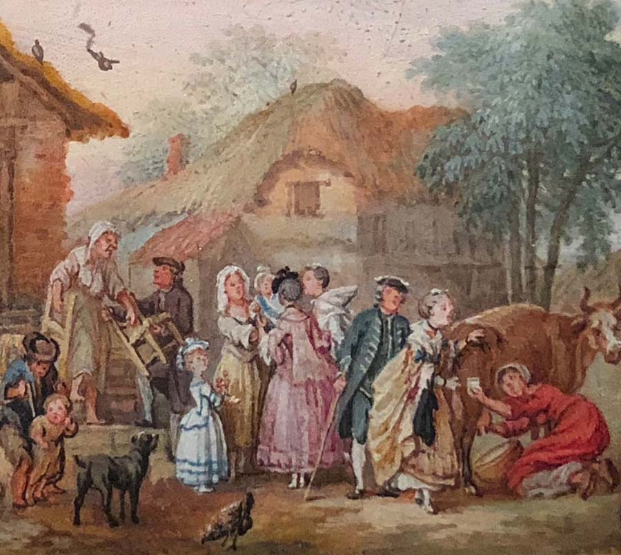 a watercolour showing a country scene with peasants and someone milking a cow